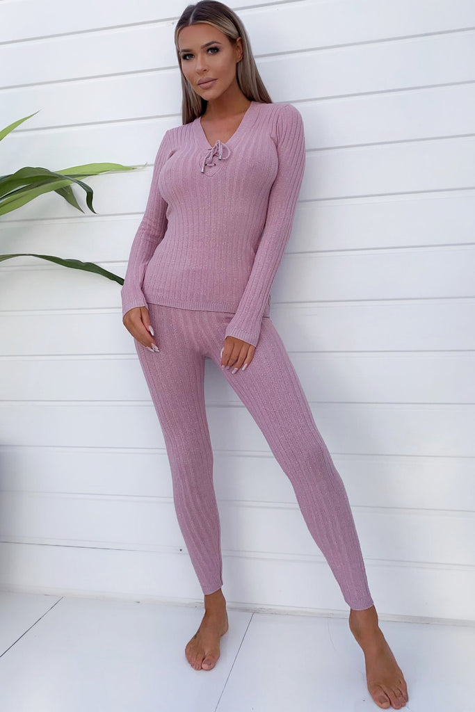 Zee Pink Fitted Knit Ribbed Co-Ord