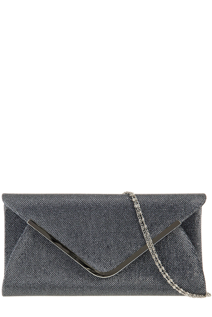Zelda Grey Glitter Envelope Clutch Bag