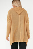Zelma Camel Hooded Knit Cardigan
