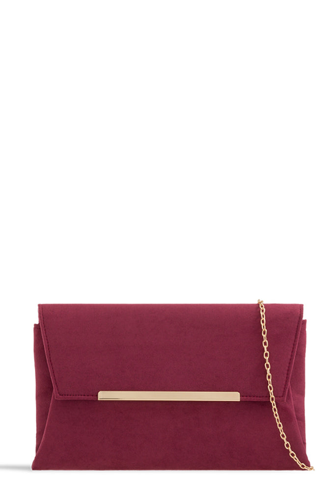 Zen Burgundy Suedette Gold Bar Clutch (1625193775170)
