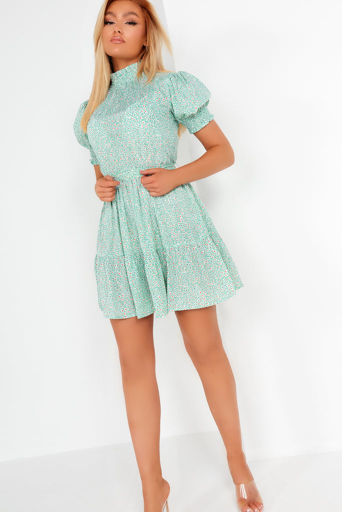 Zena Mint Ditsy Print High Neck Dress