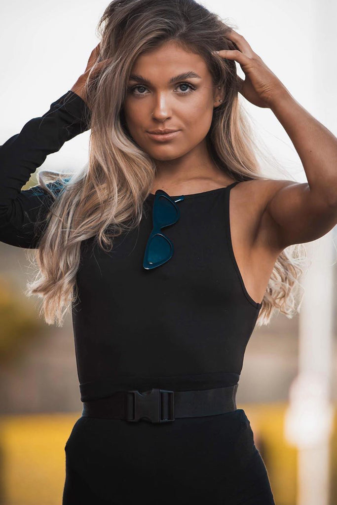 Anais Black One Sleeve Bodysuit