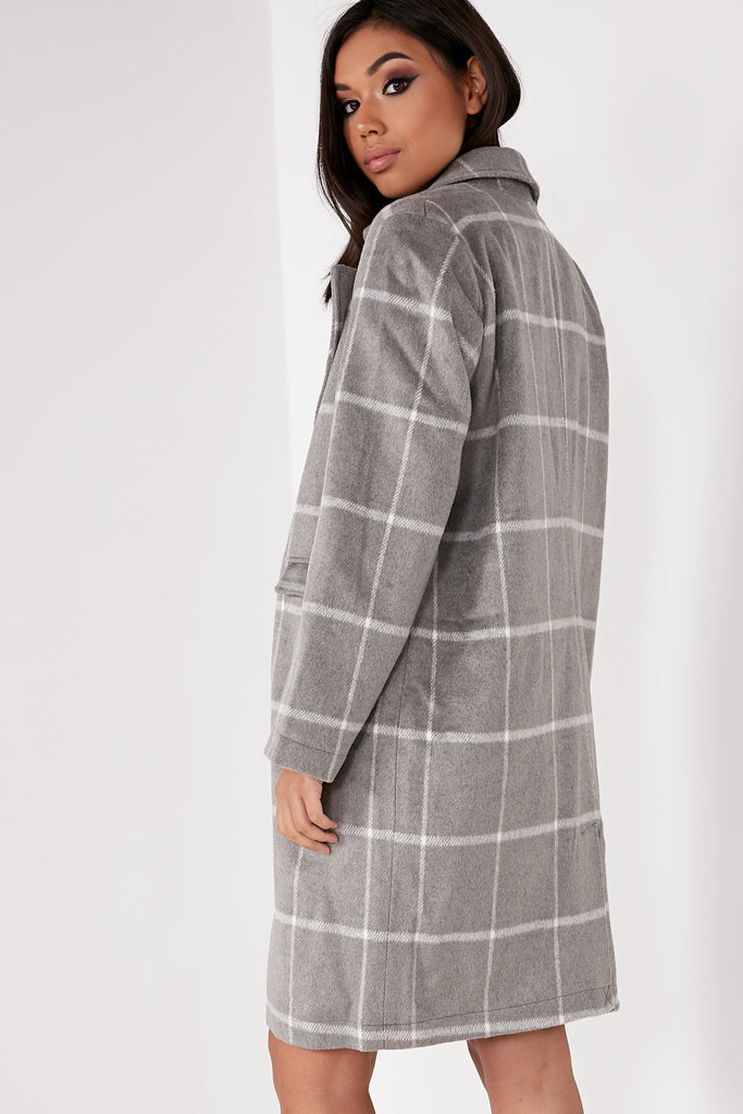 Zettie Grey Check Oversized Coat