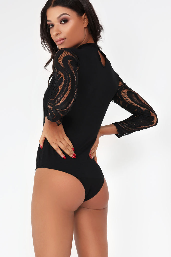Zia Black Lace High Neck Bodysuit