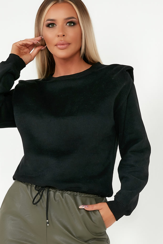 Zia Black Shoulder Detail Sweatshirt