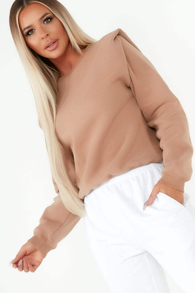 Zia Camel Shoulder Detail Sweatshirt
