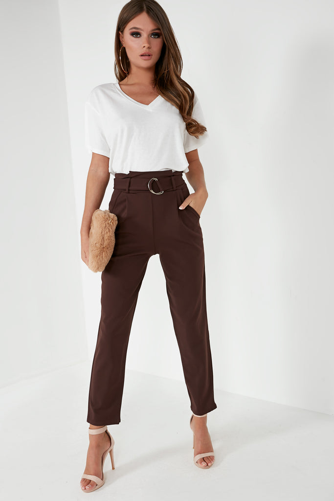 Zidi Chocolate High Waist D Ring Trousers