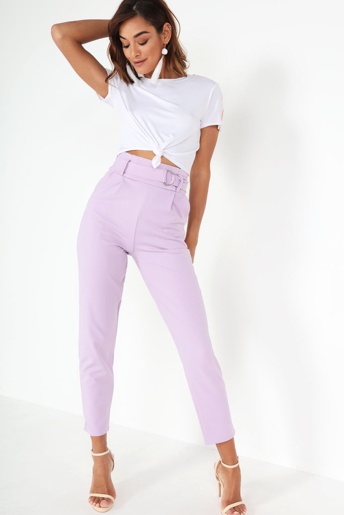 Zidi Lavender High Waist D Ring Trousers