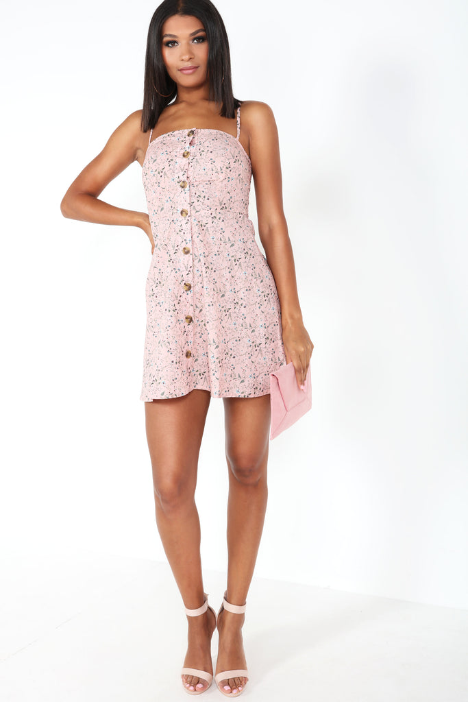 Zigi Pink Floral Button Front Mini Dress