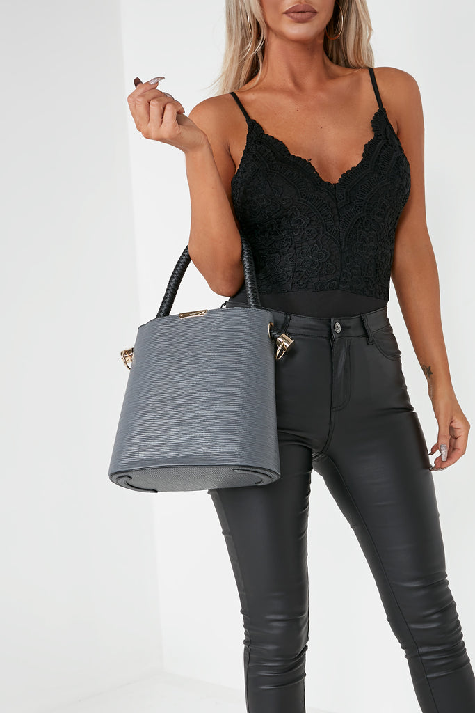 Zin Grey Leatherette Tote Bag (1625205538882)