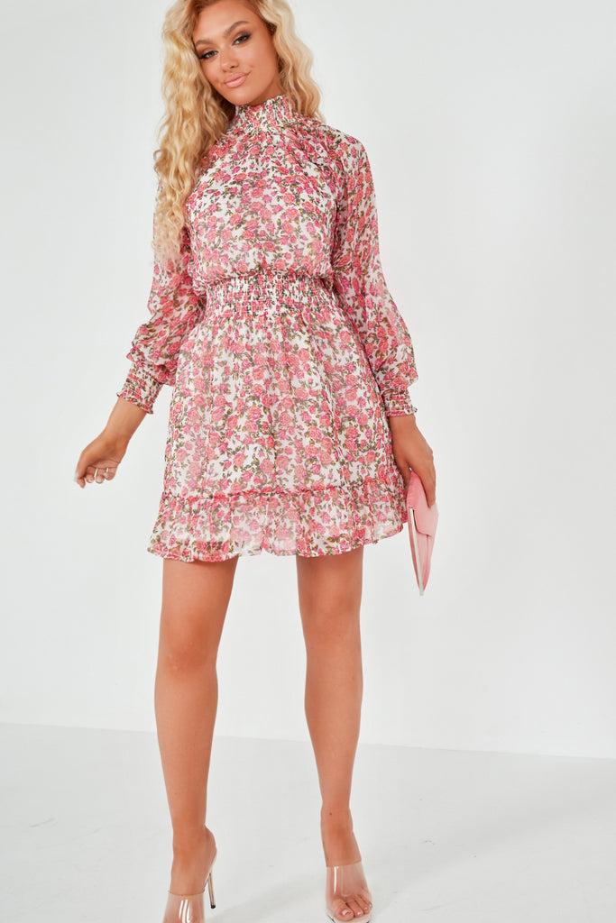 Zinnie Pink Rose Print High Neck Dress
