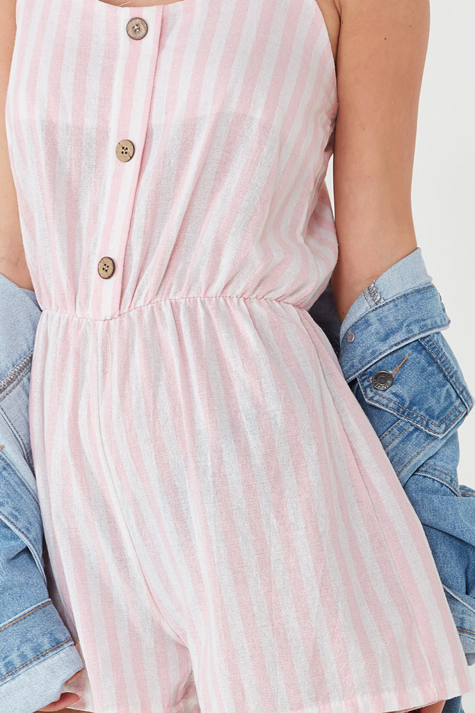 Zora Pink Striped Playsuit