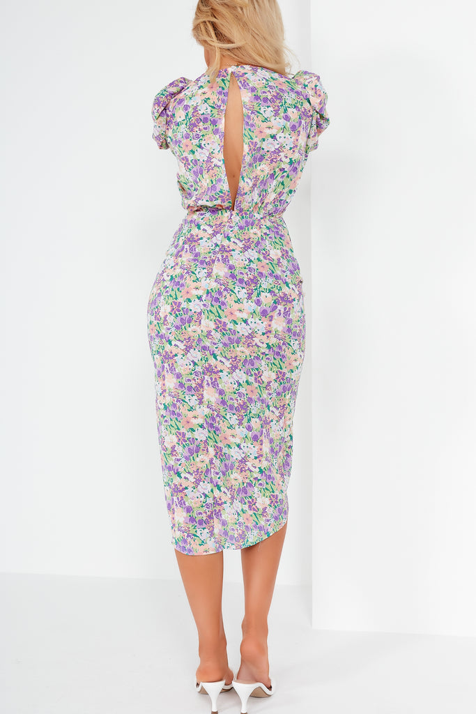 Zorcha Lilac Floral Open Back Ruched Midi Dress