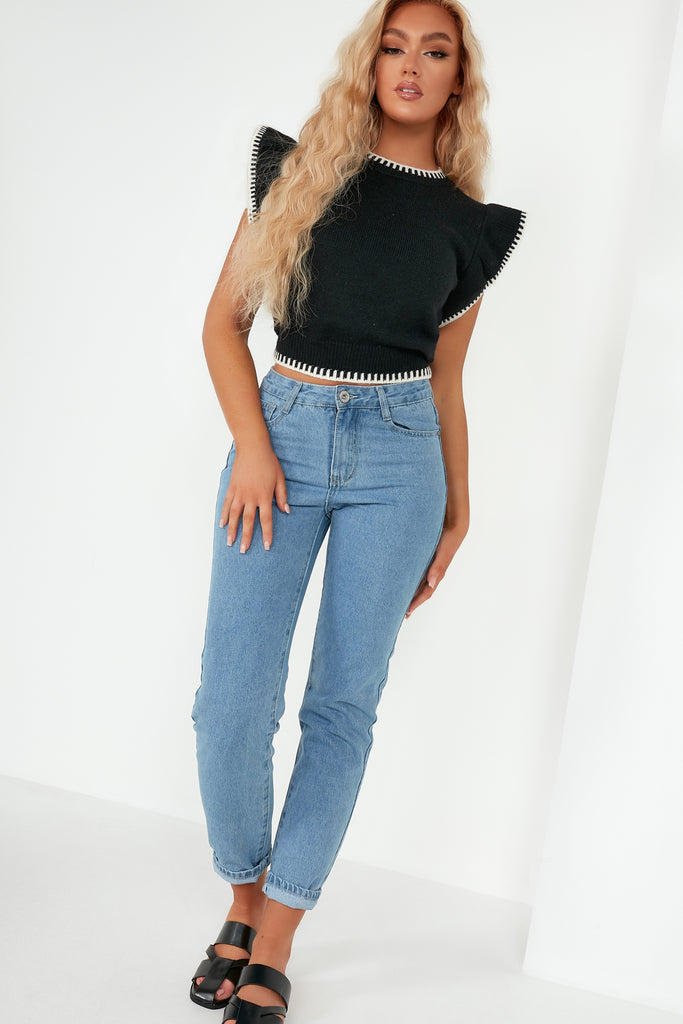 Zorla Black Knit Frill Sleeve Crop Jumper