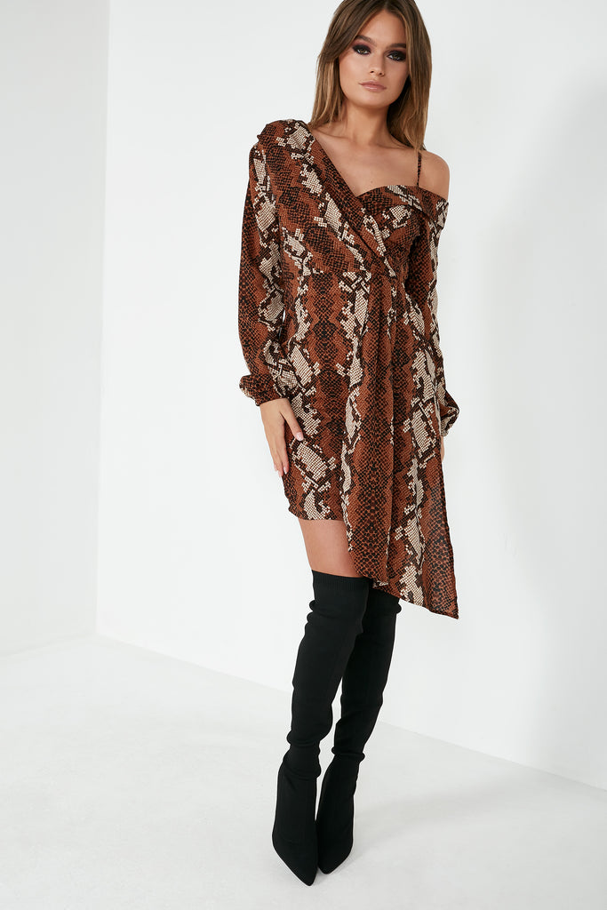 Zula Brown Snake One Shoulder Dress