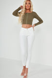 Zula Khaki Ribbed Hook And Eye Crop Top