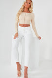 Zula Nude Ribbed Hook And Eye Crop Top