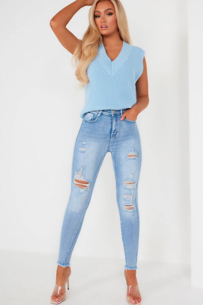 Zyla Blue Distressed Skinny Jeans