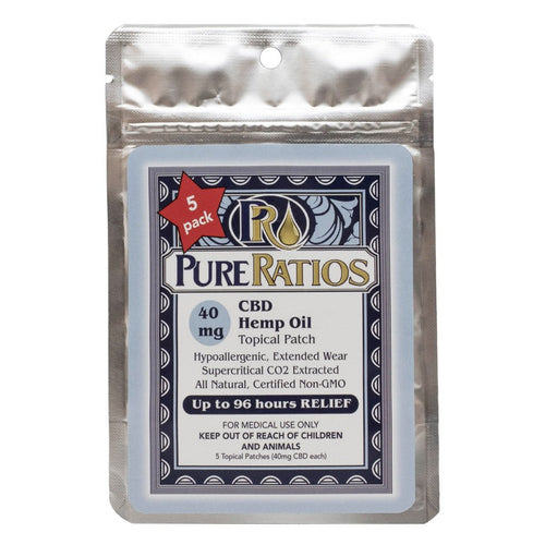 Pure Ratios CBD Topical Hemp Patch 40 mg each - 5 Pack