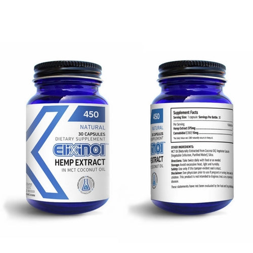 Elixinol 450 CBD Hemp Oil Capsules - 30 Capsules with 15mg CBD Each