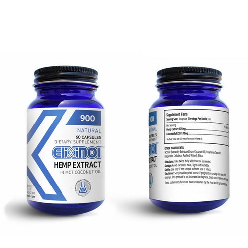 Elixinol 900 CBD Hemp Oil Capsules - 60 Capsules with 15mg of CBD Each