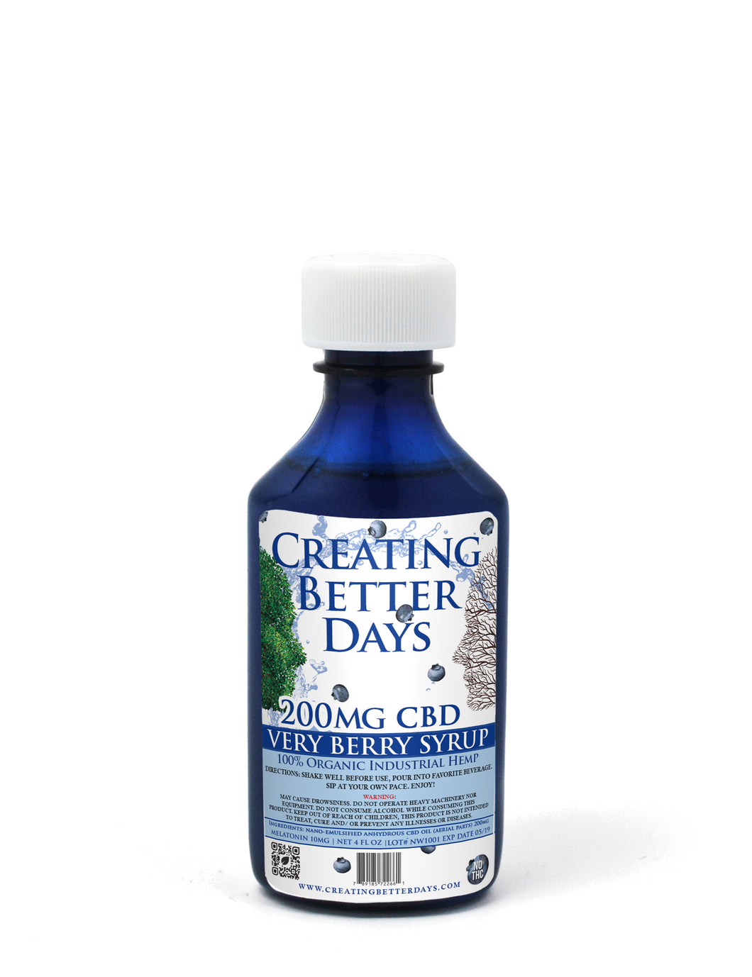 Creating Better Days Nano-CBD Very Berry Melatonin Syrup 200mg