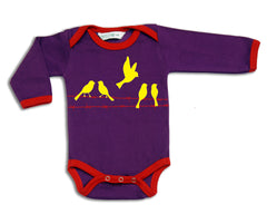 Birds On Wire  organic designer babygrow