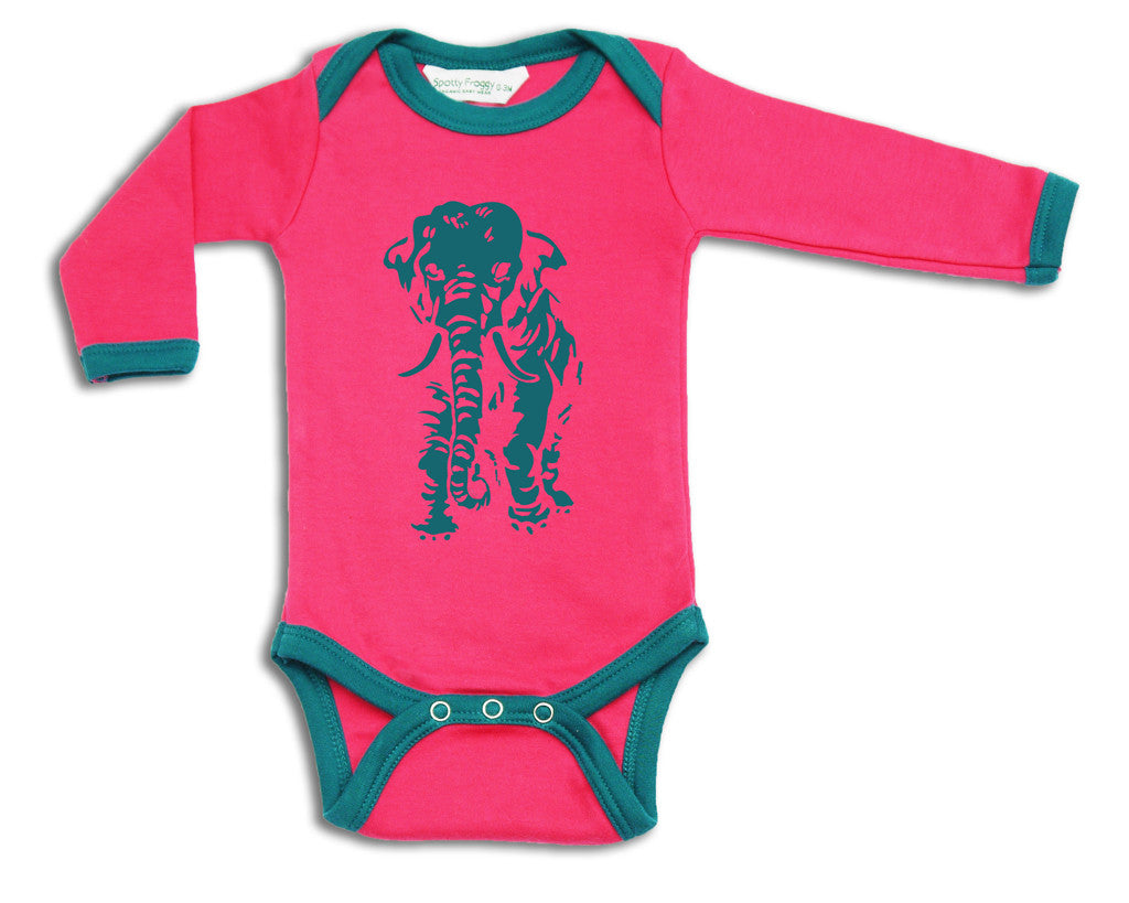 Elephant Silhouette Alternative Designer Fashion Baby Clothes And