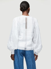 Frame  - Lace Button Front Top Blanc