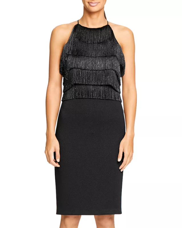 Halston Heritage - Fringe Trimmed Dress (Black)