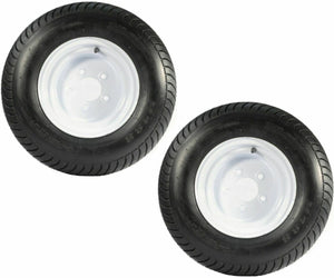 (2) TWO- NEW 20.5X8.00-10 6PLY LOAD RANGE C TIRES WITH 5 LUG WHITE WHEELS