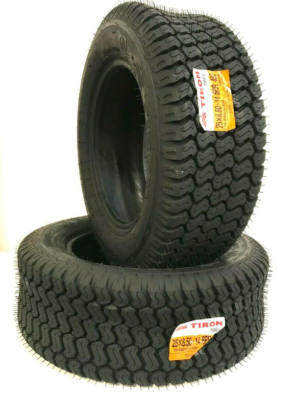 Two New 25X8.50-14 R3 482 6PR TL TIRON 6 Ply Lawn & Garden Tractor Turf Tire