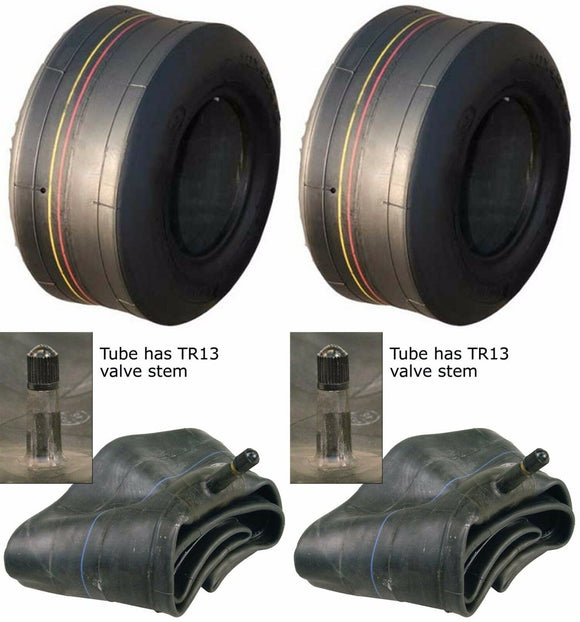 2 (TWO) 4.10/3.50-5 AIRLOC 410/350-5 4PLY Smooth Tires W/TUBES 4.10-5 3.50-5