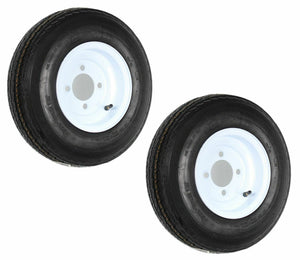 (2) TWO- NEW 4.80-8 6PLY LRC 4HOLE LUGS TRAILER TIRES ON WHITE WHEELS