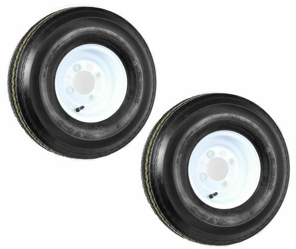 (2) TWO- NEW 5.70-8 4PLY  LOAD RANGE B HEAVY DUTY TRAILER TIRES ON 4 HOLE WHITE WHEELS