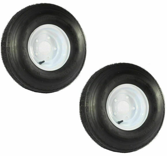 TWO Trailer Tires On Rims 5 Lug Bolt White 5.70-8 LRB 570-8 570 8 5.70 8