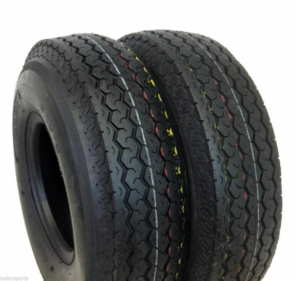 (2) TWO- NEW 4.00-8/4.80-8 DEESTONE  6 PLY RATED TUBELESS TRAILER TIRES