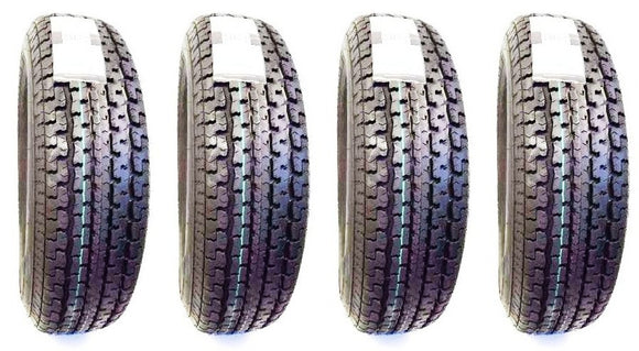 (4) FOUR - NEW ST 205/75R15 8 PLY RATED RADIAL TRAILER TIRES