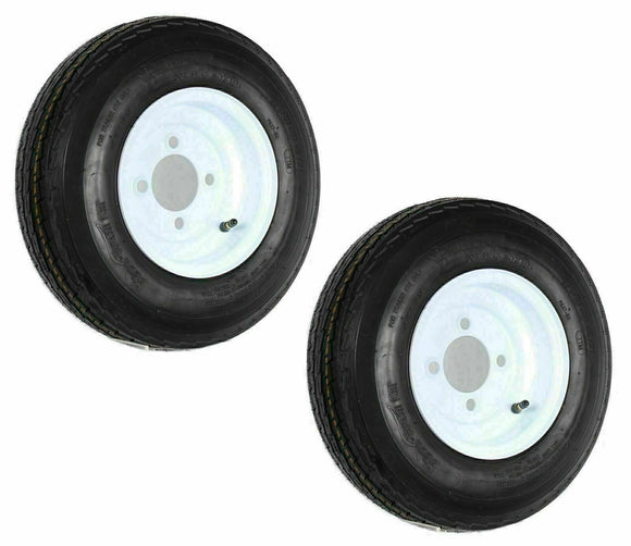 2- Trailer Tire On Rim 480-8 4.80-8 8 4PLY LRB 4 Hole/Lug White Wheel