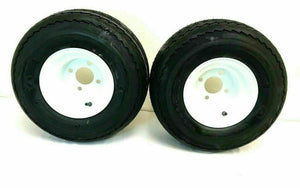 TWO (2) 18x8.50-8 Golf Cart Kart Fits EZ Go Tire & Wheel Rim 4LUG White E-Z