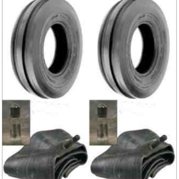 Two New 3.50-6 Deestone Three Rib Front Garden Tractor Tires W/tubes 3.50x6