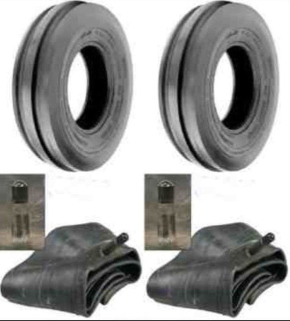 2 - 5.00-15 4 Ply Front Tractor Tires With Tubes
