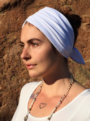 White Short Vintage Headband (yoga collection)