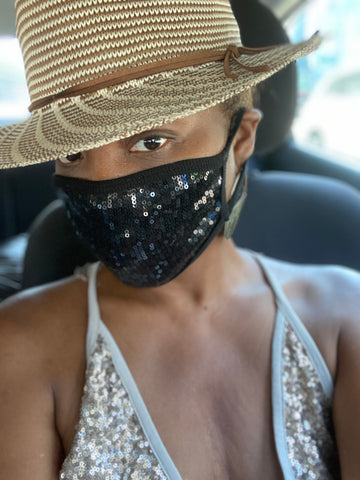Black Sequin  Fashion Face Mask