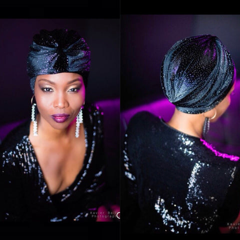 Galaxy Turban - Black Velvet