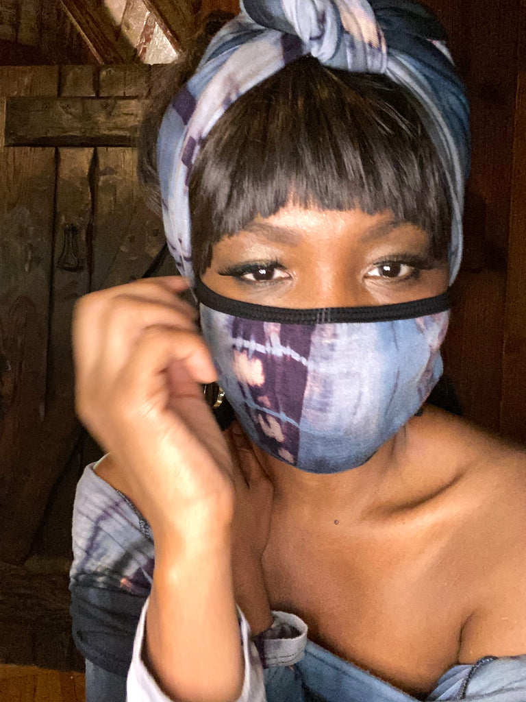 Fashion Face Mask - Blue Tye Dye