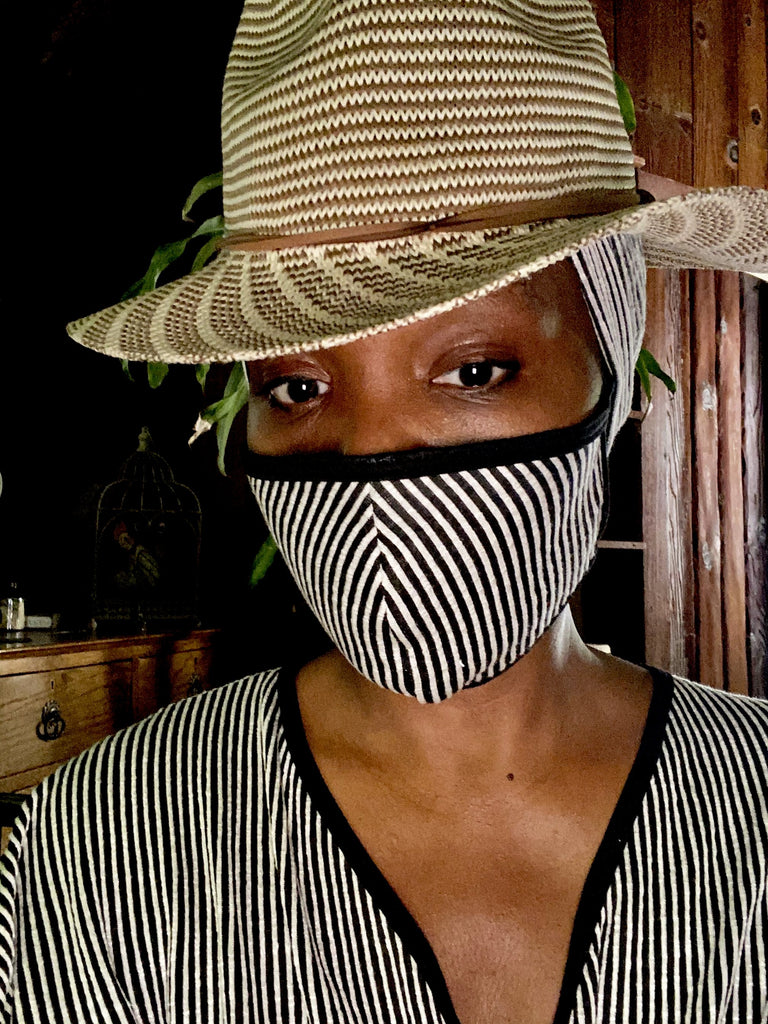 Black & White Stripe Fashion  Face Mask