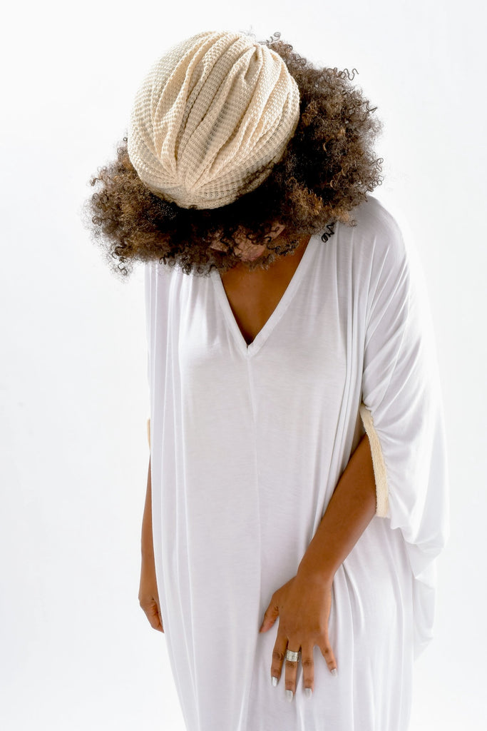 The Burt Dress - White with Natural Barley  contrast