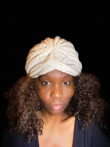 New Classic Natural Ivory Cotton Knit Turban