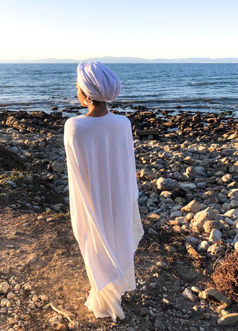 The Luxe Yoga Collection - White Cotton Fleece Meditation Wrap